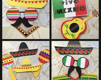 DIGITAL Mexico Theme Party Fiesta Photo Booth Props Cinco De Mayo Instant Download