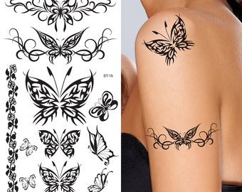 Supperb® Temporary Tattoos - Black Tribal Butterflies Elegant Temporary Tattoo