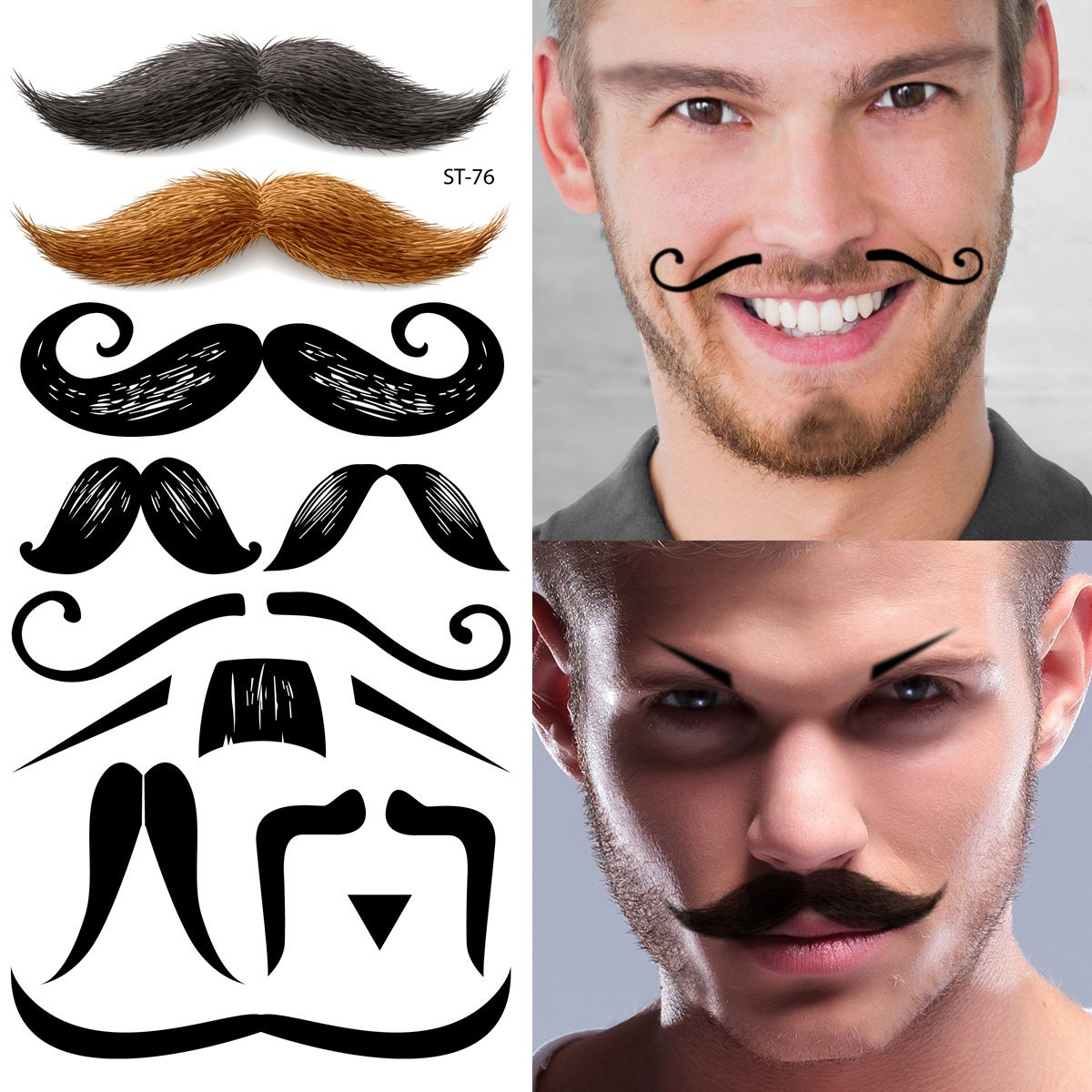 Supperb temporary tattoos mustache tattoos set for Mustache temporary tattoos