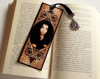 Bookmark Morticia Addams - illustrated, laminated, handmade