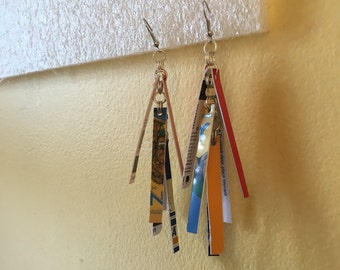 The Bold Pair (Recycled Credit Card Earrings)