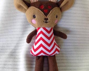 Reindeer Stuffed Animal, Deer Stuffed Animal, Stocking Stuffer, Children's Stuffed Animal, doe stuffed animal, plush kids toy