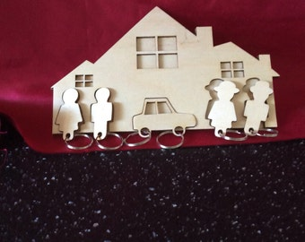 Wall key holder with five fobs