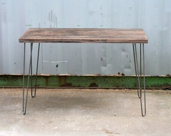 Industrial vintage, retro chic reclaimed wood table - 120cm length solid oak top.