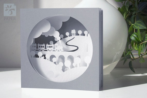 3d pop up card templates free - papercut template tunnel card train instant download svg