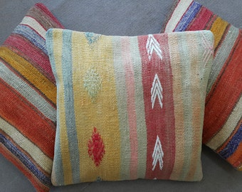 1 Set Kilim Pillow Covers, Kelim Pillow cases, Cushion Covers, Pillow Cases ( 16 x 16 inch )