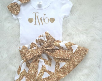 Two year old birthday oufit/2nd birthday outfit/sparkle outfit