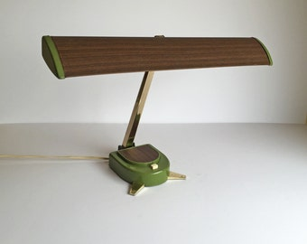 Mid Century Retro Hamilton Industries Desk Lamp. Wood, Green, and Gold. Adjustable shade height and angle