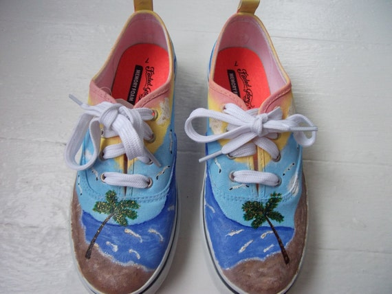 Hand Painted, Canvas Shoes, Beach, Women's Shoes