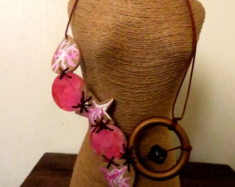 Pink Asymmetrical Necklace