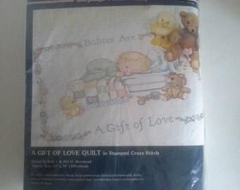 Sunset BabyHugs Stamped Cross stitch Quilt Kit