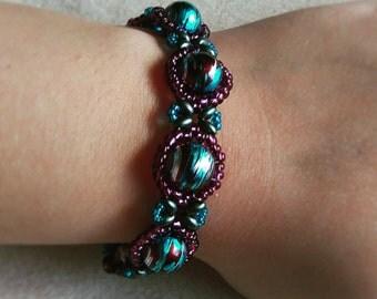 Handmade Adult Purple & Blue Bracelet