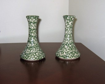Vintage Pair Green Roseville Spongeware Candle Holders Cottage Chic  Mid Century