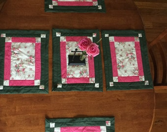 Handmade set of six placemats floral
