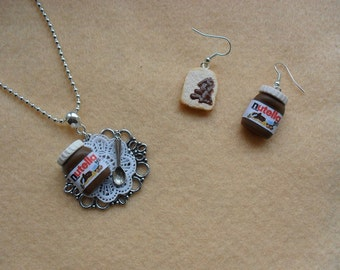 Dollshouse miniatures nutella fimo necklace