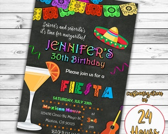 Fiesta Birthday Invitation, Mexican Invitation, Mexican Birthday Invitation, 30th Birthday, 40th Birthday, 50th Birthday Fiesta Invitation