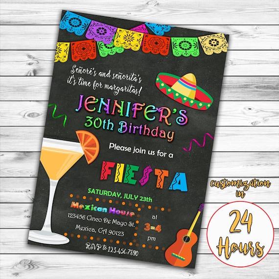 Fiesta Birthday Invitation Mexican Invitation Mexican