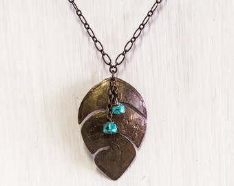 Etched Brass Leaf Pendant