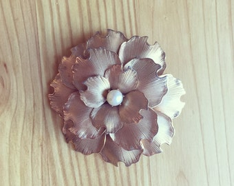 Gold and Pearl Flower Brooch - Gold Rose Brooch - Gold Rose Pin - Gold Pearl Pin - Gold Pearl Brooch - Gold Flower Pin - Bridal Jewelry Pin