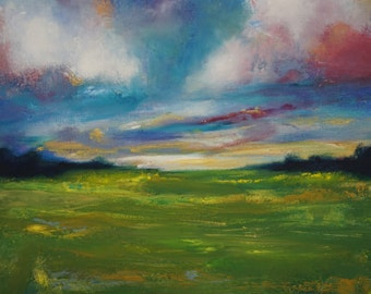 Original Oil Painting, Colorful Clouds