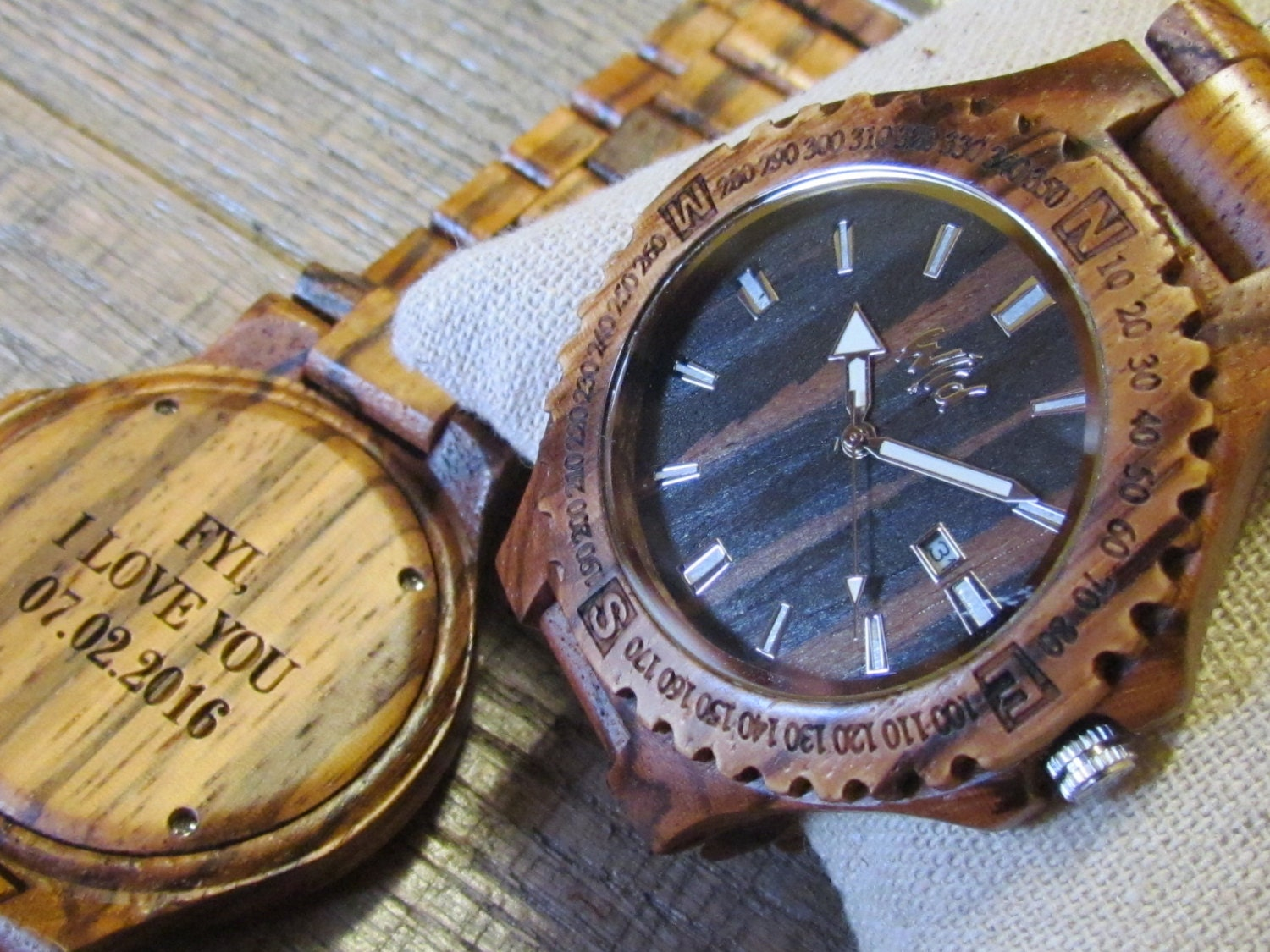 Watch As Wedding Gift: FREE Engraving Wood Watch Personalized Mens Watch Wedding