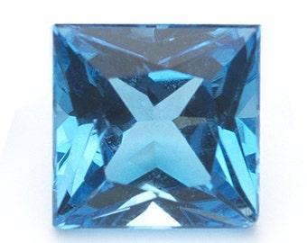 1.04-1.46 Cts of AAA 6 mm Princess Loose Swiss Blue Topaz ( 1 pc ) Gemstone-360064