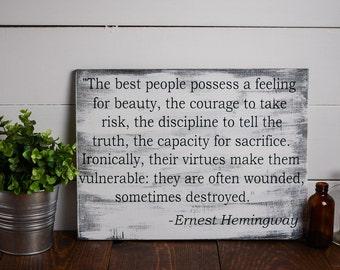 Ernest Hemingway, Wooden sign, Home decor, 12x16, reading nook, book nook