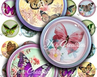 Digital Collage Sheet 1.5 Circles FLOWERS AND BUTTERFLIES Pendant, Magnet, Stickers and Craft download - Instant Download