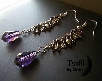 Vampire Bats Purple Dangle Drop earrings