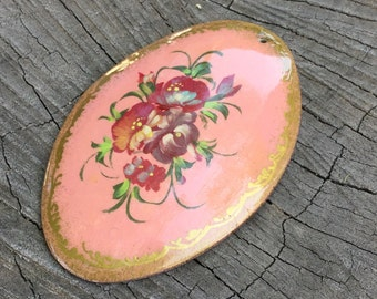 Pink Hand Painted artisan made wooden Polish Pendant - 2 Pieces - #184