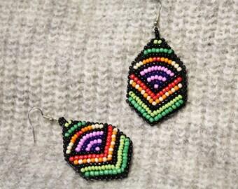 Bead embroidery earrings