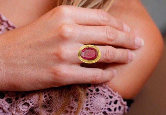 Women's Gold Plated Ruby Ring, Vintage Style Antique Handmade, Statement ring, gold plated , gold look, Adjustable ruby ring, Gemstone ring