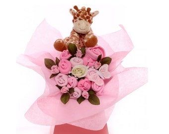 Baby Girl Bouquet with Giraffe Soft Toy.