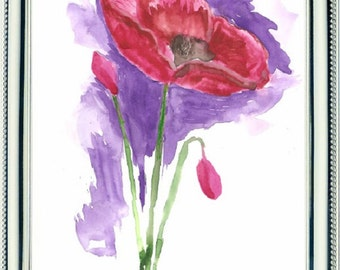 Watercolor, Red poppies, Flower
