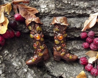 Miniature Boots 'Berry Autumn', Forest Elves Footwear, Polymere Clay