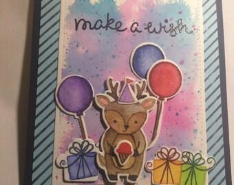 Handmade Watercolored Birthday Card