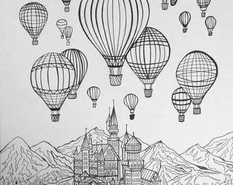 Ballons & Castle Coloring Page