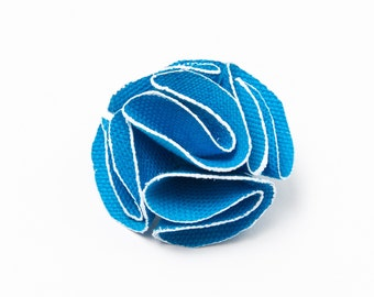 Wedding Lapel Pin, Suit Boutonniere, Mens Blue Flower Lapel Pin with white trim, Suit accessory, Gifts for Men, wedding accessory