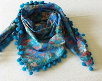 Blue Batik Scarf with Turquoise Pompoms