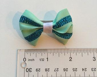 Itty Bitty Blue Pinwheel Bow