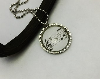 Music Note Necklace, Handmade Necklace, Music Jewlery, Note Jewelry, Gift music , Made In USA