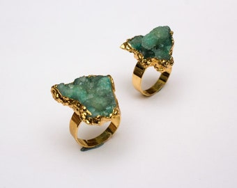 Green Druzy Ring - 18k Gold Plated