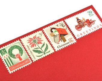 Classic Christmas Stamp Set - Vintage Postage Stamps for your Holiday mailings! Mint!