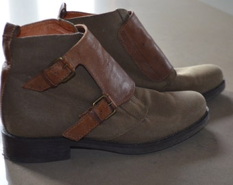 Code FOREVER15: 15% and reduced SHIPPING! Khaki fabric J.Crew boots and cognac leather 39 (8)