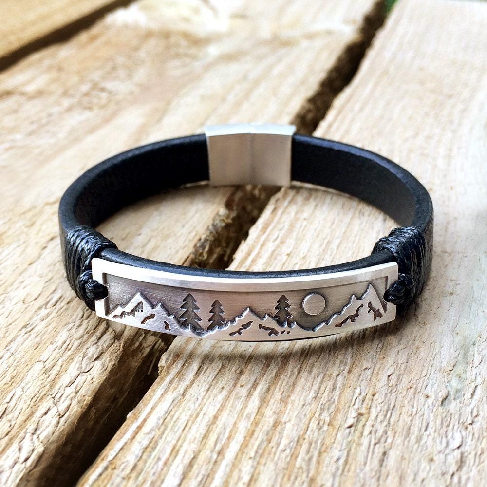 mountain climber bracelet mountain bracelet leather mountain. Black Bedroom Furniture Sets. Home Design Ideas