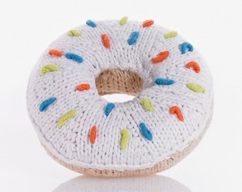 Crocheted donut rattle, baby gift to the birth, baptism, Christmas, baby gift boy, girl