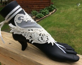 Sassy sandals, wedding or beach sandals, lace sandals, bear foot sandals
