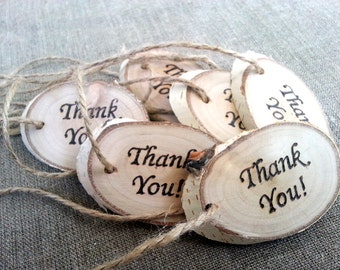 Wedding Gift Set of 10, Tags Wooden Hang Tags, Wedding Party Favor Rustic Gift Tags, Wooden Thank You Tags, Real Wood Tags, Engraved tags