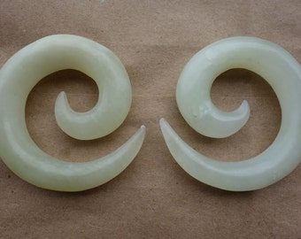 Mismatched pair 00g and 7/16 green jade Organic Stone Spirals - NEW