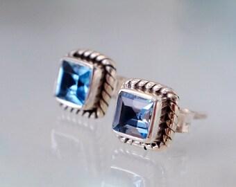 Topaz Stud Earrings - Blue Topaz Gemstone - Sterling Silver Earrings - Square Gemstone Earrings - Rope Nautical - Silver Studs - Blue Studs